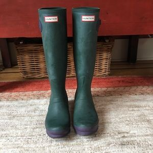 Hunter Boots Tall Green Back Stripe, Sz 9F